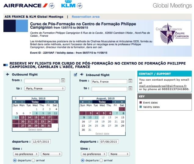É assim que nosso curso aparece no site da Air France, quando entramos com o código de acesso