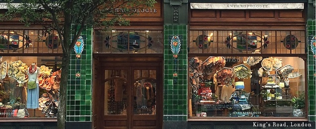 Vitrine da Anthropologie - London, na King's Road. Fonte: site europeu da marca