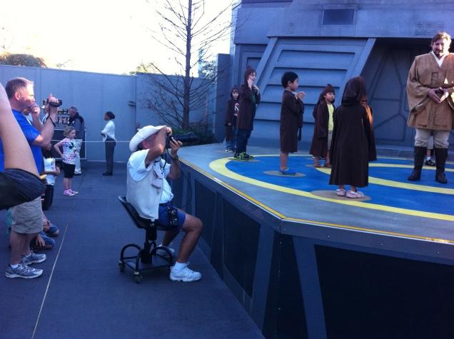 Profissional Photopass em ação, no Treinamento Jedi